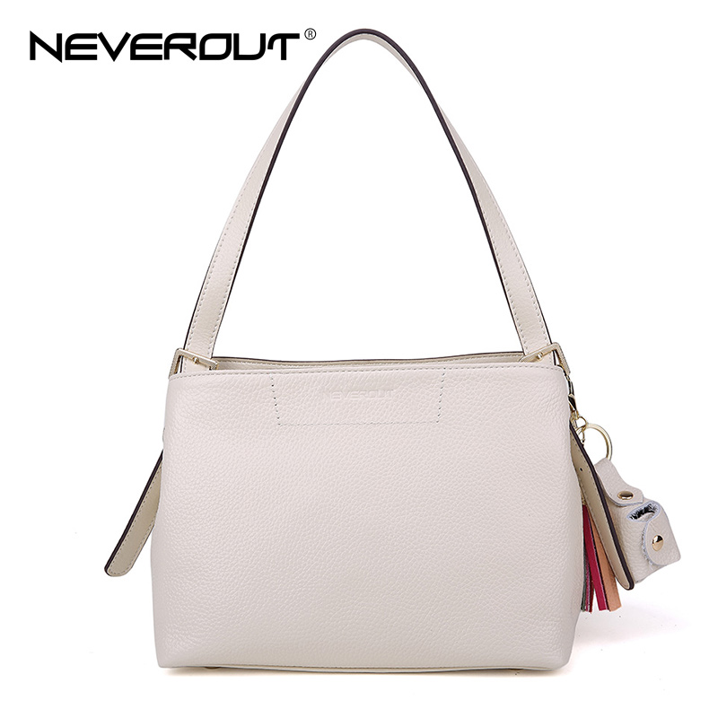 Neverout Brand Name Bag Fashion Handbag Lady Solid Shoulder Bags Sac Genuine Leather Totes for Women Ladies Leisure Tassel Bags luxury genuine leather bag fashion brand designer women handbag cowhide leather shoulder composite bag casual totes