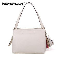 Neverout Brand Name Bag Fashion Handbag Lady Solid Shoulder Bags Sac Genuine Leather Totes for Women Ladies Leisure Tassel Bags