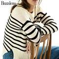 Bazaleas Stripe Pattern Pullover Fashion Navy Style Women Knitted Top Sweater Basic Pull Femme Streetwear Punk Knitwear