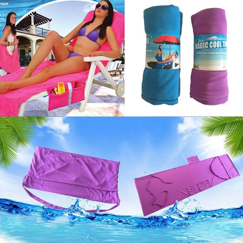 Microfiber Fiber Sunbath Lounger Bed Mate Chair Cover Coolcore Beach Towel Holiday Leisure Garden Beach Serviette 30x83