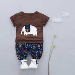 HYLKIDHUOSE 여름 아기 소년 의류 세트 코끼리 T 셔츠 반바지 2 개 유아 어린이 키즈 스포츠 캐주얼 옷