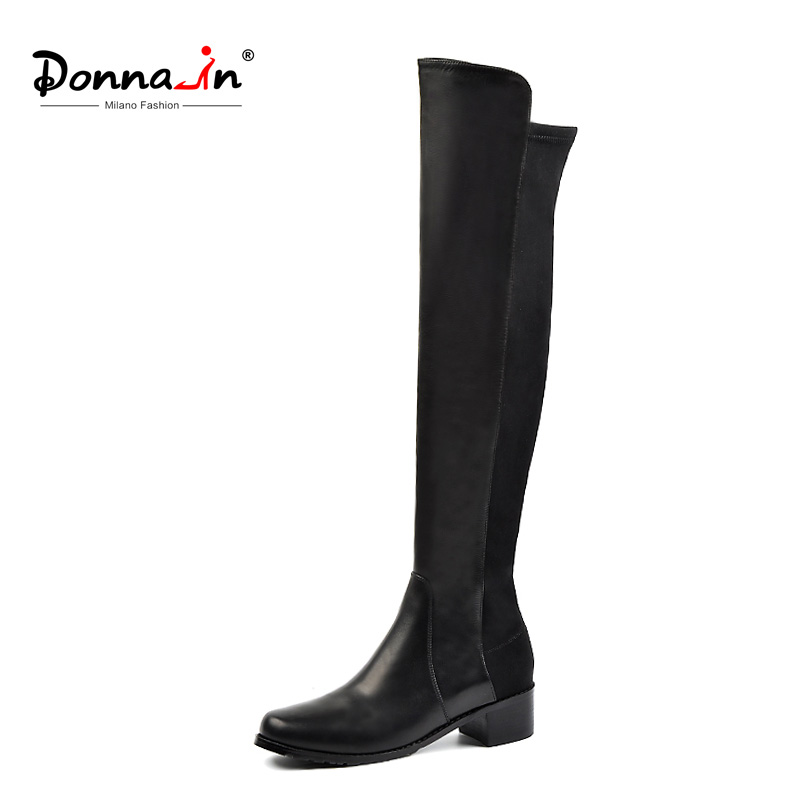 Donna-en Sur Le Genou Bottes Femelle véritable Talons en cuir Noir Cuissardes Bottes Bout Rond 2018 Automne Hiver botas Femmes Chaussures