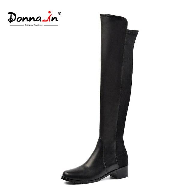 Donna-в Сапоги выше колена женский натуральная кожа каблуки ботфорты до середины бедра черного цвета круглый носок 2018 осень-зима Женская обувь