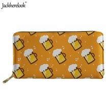 Jackherelook Cartoon Beer Mugs Pattern Women Men Zipper Purse Brand Design Fashion Long PU Leather Wallets Storage Card Holder