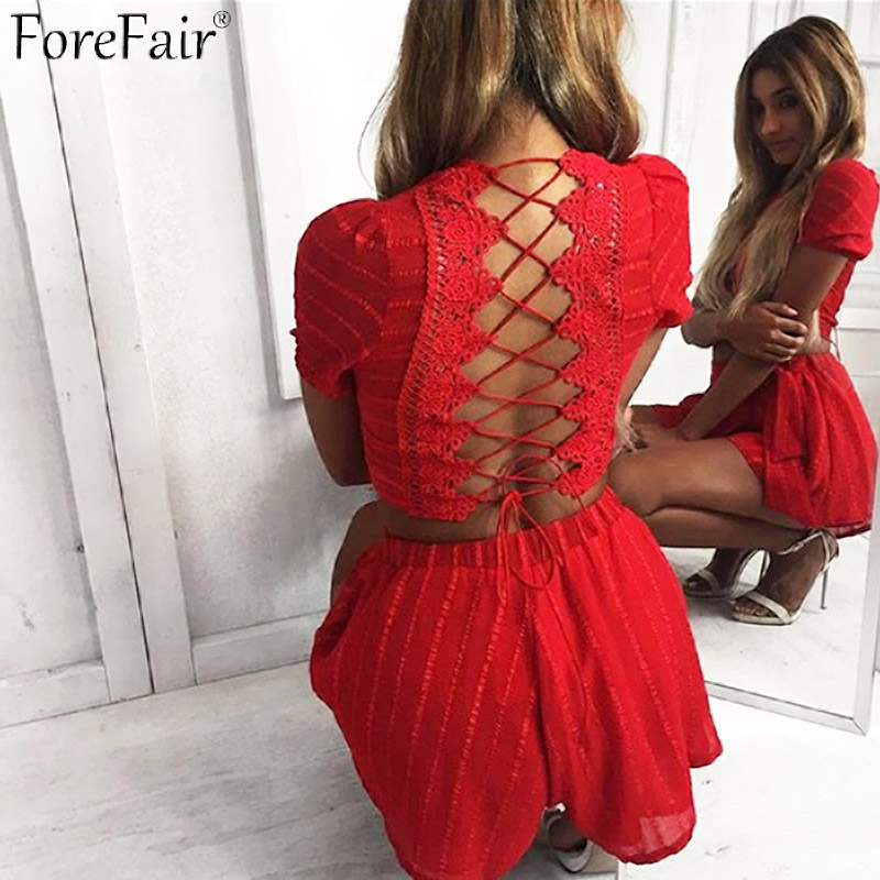 ForeFair Hollow Out Lace Backless Sexy Jumpsuit Romper Women Summer Two Piece Lace Up Playsuits Autumn Overalls for Women