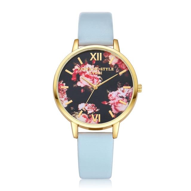 Gofuly Women Flower Ladies Dress Watches Top Luxury Brand Vintage Wrist Watch La
