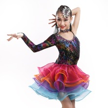 new limited sequined latin dance dress for girls children tango/rumba/chacha dance competition costumes flower practice dress