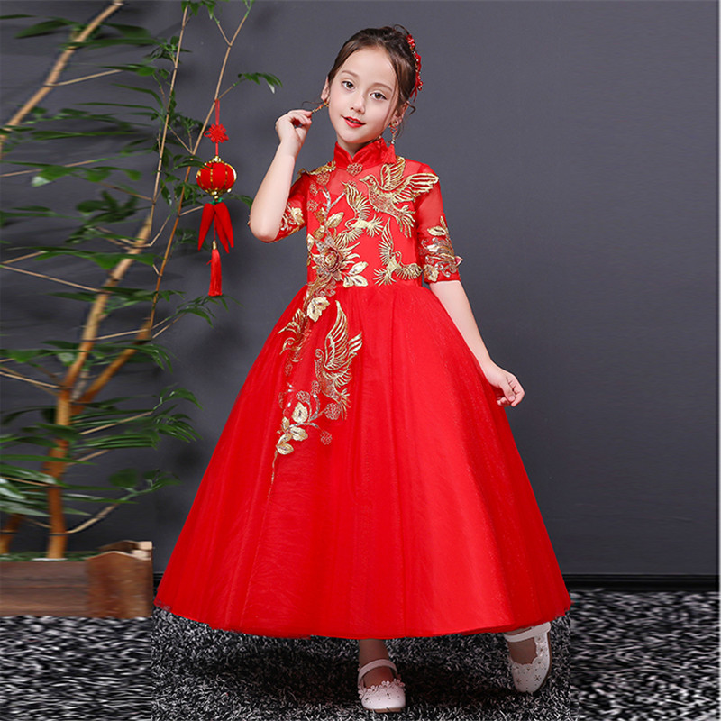 2018 Elegant New Chinese Traditional Kids Girl Embroidery Cheongsam Princess Dress Children Red Qipao New Year Party Dresses red full length wedding dress elegant evening gowns chinese women embroidery flower qipao sexy cheongsam bride toast clothing