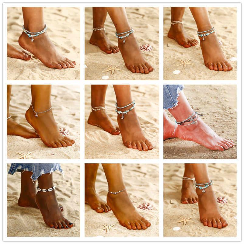 חמה קיץ חוף מעטפת כוכב ים צמיד לנשים חדש הצהרת עיצוב בוהמי רגל תכשיטי רגל צמיד Boho הודי צמיד