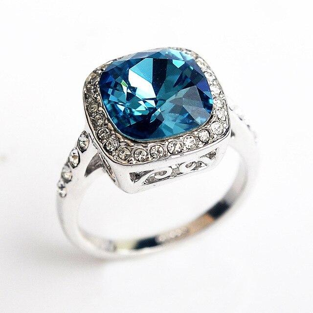 Anillos de circonita de joyería de cristal azul USTAR para mujer anillos de boda de color plateado Anel anillos femeninos bijoux regalo