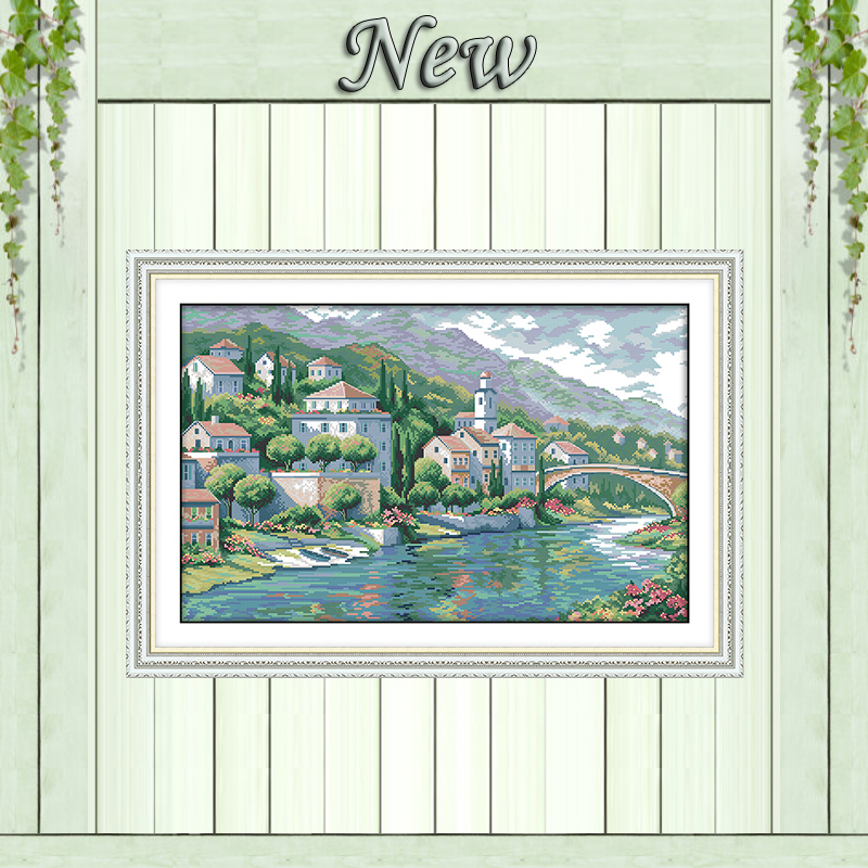 River town scenery river diy painting counted print on canvas DMC 11CT 14CT kits Chinese Cross Stitch embroidery needlework Sets