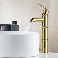 Basin Bamboo Faucet Golden Plating Mixer Taps Single Holder Sink Faucet bamboo joint shape tapsG1042