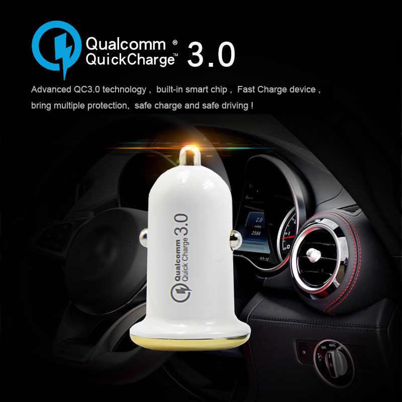 Mini Cepat QC3.0 QC2.0 USB Charger Mobil untuk Iphone Samsung S9 S10 Plus Huawei P30 Cepat Pengisian Charger Telepon mobil