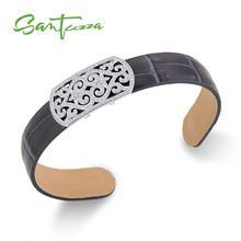 SANTUZZA серебряные браслеты на запястье для Для женщин Для мужчин 925 пробы серебро регулируемые браслеты синего цвета из натуральной кожи; модные Модные украшения
