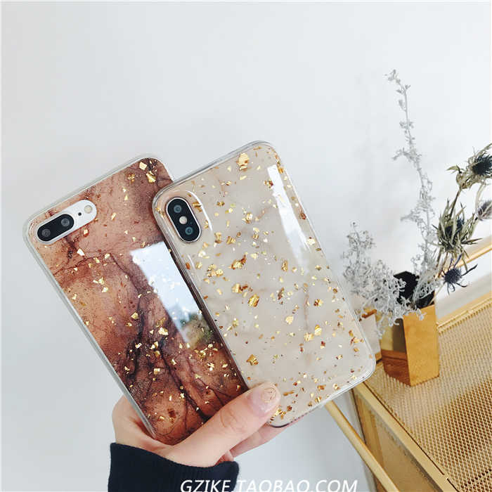 Europe and the United States luxury gold foil marbled Apple X/ 8/7/6 plus mobile phone soft shell anti-fall female models