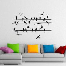Bird On Branch Wall Sticker Flock Of Birds Tree Decals Vinyl Home Animal Decor Room Interior Design Art Mural Housewares 3596