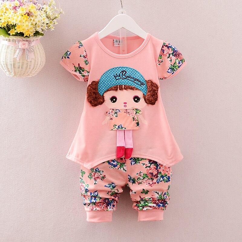 Hot sales summer girls clothes sets baby short sleeve t-shirt + pants cute casual sets baby clothes sets