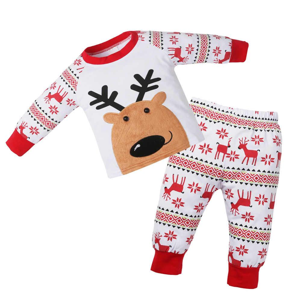 cfefac2862be4 ... 2pcs/Set Newborn Baby Christmas Outfit New Year Cartoon Pajamas Clothing  Set Long Sleeve Elk ...