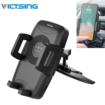 VicTsing Qi Fast Wireless Charger CD Slot Car Phone Mount Auto Charging Powers Universal Car Phone Holder for iPhone X 8 7 6 6S