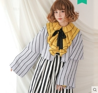 Princess sweet lolita blouse Autumn and spring original fashion and casual stripe cloak and feather blouse women Dolley 00125
