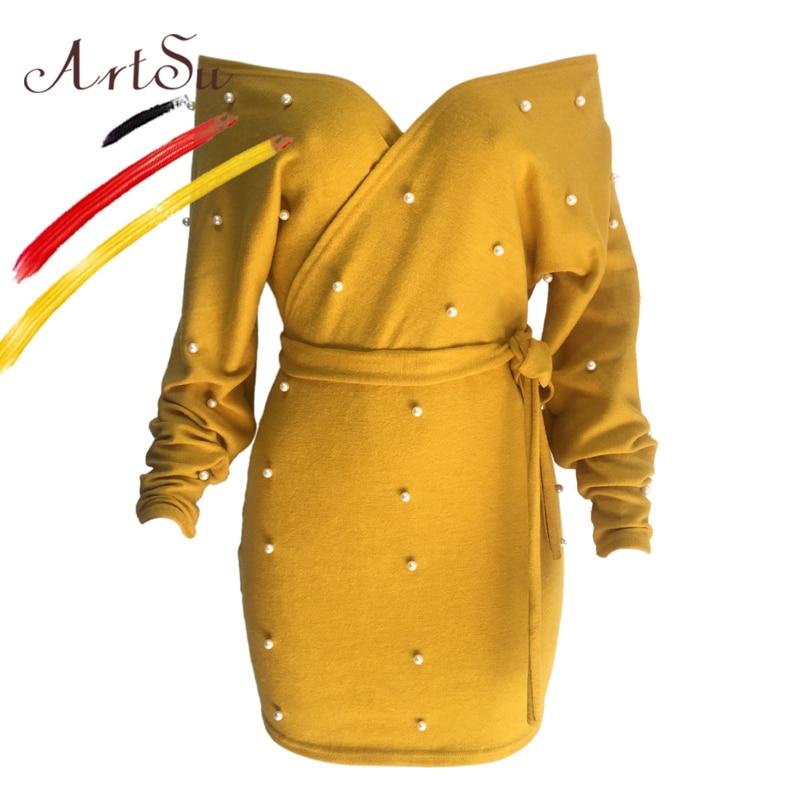 ArtSu Pearl Beading Knitted Sweater Mini Dress Off Shoulder V-Neck Long Sleeve Winter Dress Women Slim Backless Jurken With Belt pearl beading tailered blazer