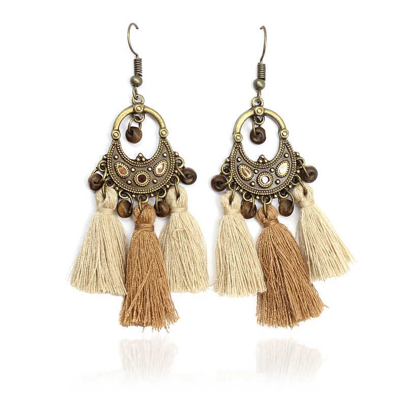 Earrings For women Czech wind retro small wooden Beads tassel pendant gold Earrings quick sale new products factory direct