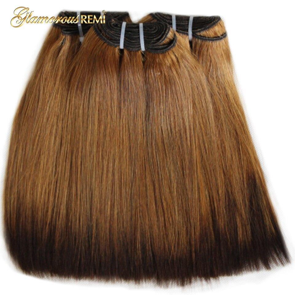 Brésilienne Vierge de Cheveux Funmi Double Drawn Droite Trame de Cheveux Humains Épais Fin Cheveux Armure Extensions 2 Ton Ombre #27 #4 Fumi Cheveux