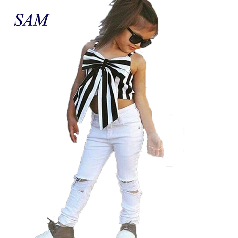 2019 vasaras karstā uzvalks 2 gabali vasaras svītrains lente īss - Bērnu apģērbi