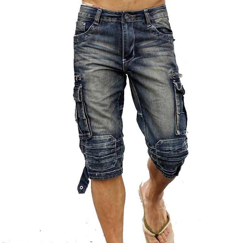 MORUANCLE Mens Summer Vintage Cargo Denim Shorts Washed Retro Short Jeans With Multi Pockets Biker Shorts For Male Size 29-40