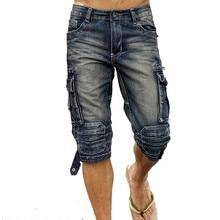 MORUANCLE Mens Summer Vintage Cargo Denim Shorts Washed Retro Short Jeans With M