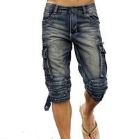 MORUANCLE Mens Summer Vintage Cargo Denim Shorts Washed Retro Short Jeans With Multi Pockets Biker Shorts For Male Size 29 40