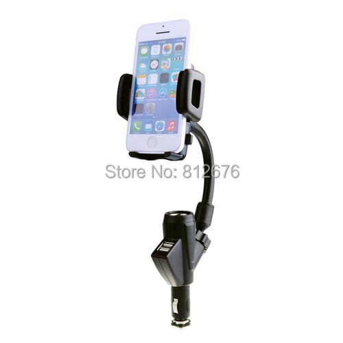 Universal Dual USB 1A/2.1A Charger Car Cigarette Lighter Phone Holder Cradle For Samsung S5 9600 9500 9300 9100 I9190