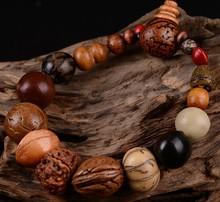 Vintage Retro Natural 18 bodhi seed bracelet bangle Buddha wood beads bracelet Tibet Buddhist prayer Temple Religion jewelry
