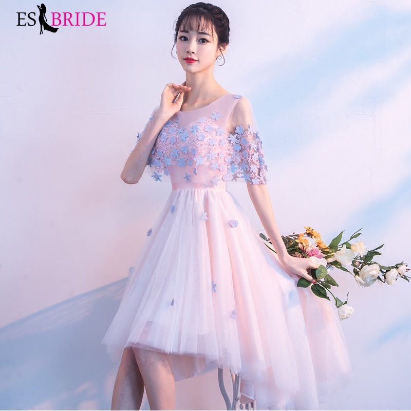 Special Occasion Evening Dress 2019 New Arrival Elegant Round Collar Wedding Party Formal Gown Dress Lace Evening Dresses ES1643