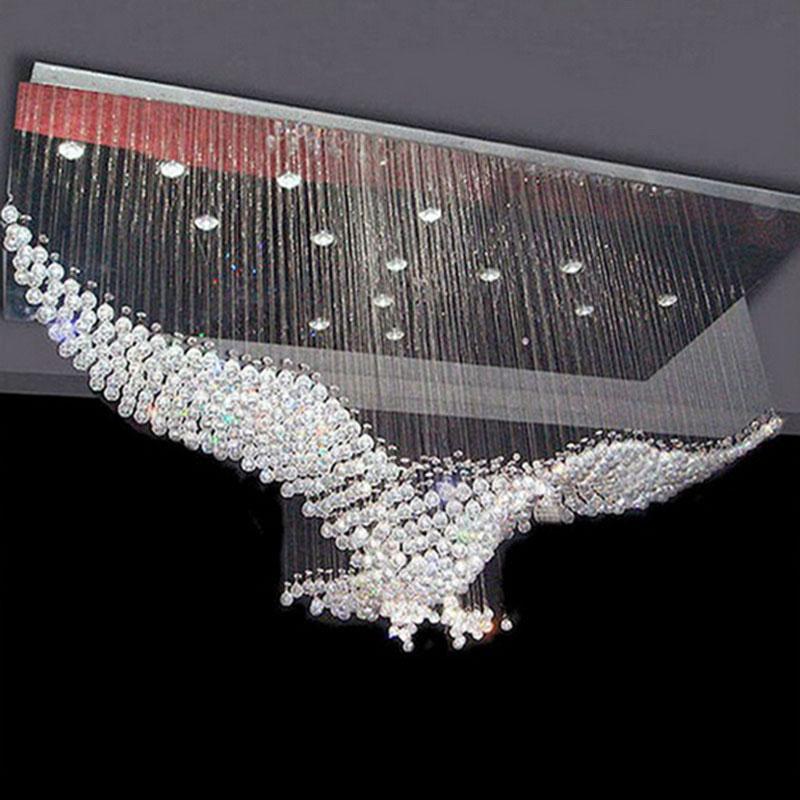 Large Size Bird Design Modern Led Crystal Chandelier Light Contemporary Chandeliers Hall Lights Eagle Lighting Ac90 260v
