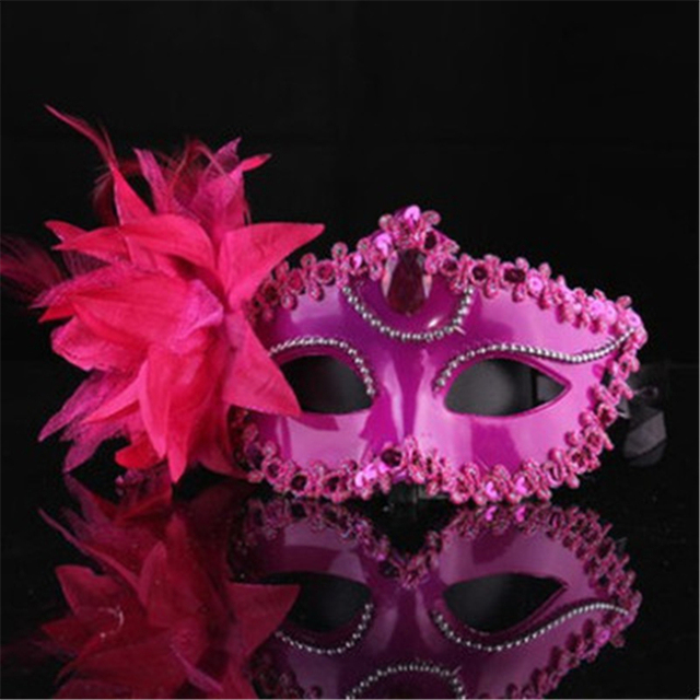 9 Color Sexy Diamond Venetian Mask Venice Feather Flower Wedding Carnival Party Performance Costume Sex Lady Mask Masquerade Hot 5