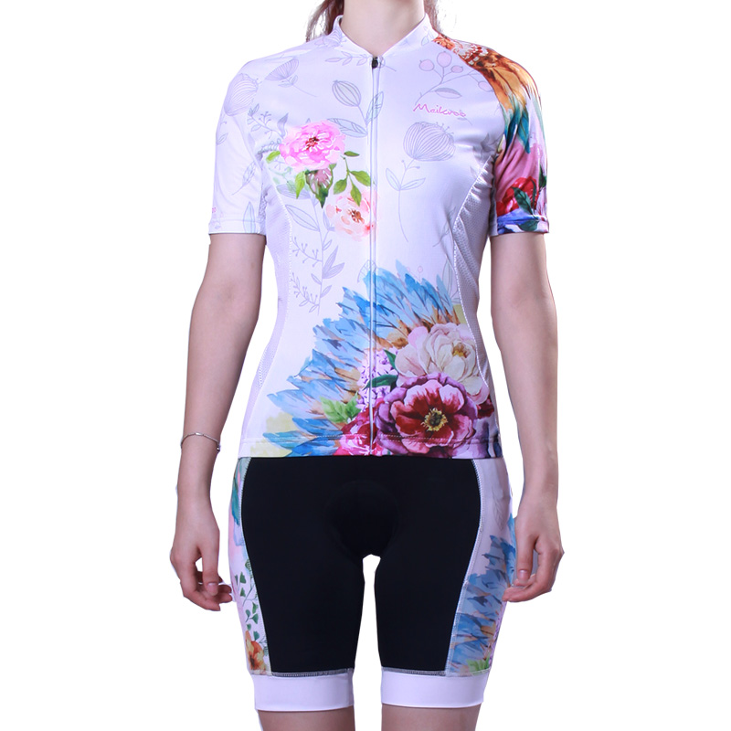 Floral Pattern Short Sleeve Jersey Set for Women Breathable Cycling Clothing Ropa Ciclismo Quick-Dry Bike/Bicycle Suit for Sport mountainpeak 2017 long sleeve autumn cycling jersey sets women quick dry breathable bike bicycle clothing equipment 2017 new