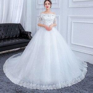 Image 4 - Plus Size Prachtige Lange Trein Trouwjurken Lace Kralen Baljurk Van De Schouder Elegante Bruid Jurken Luxe Bruidsjurken