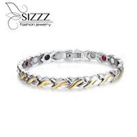Fashion Health Magnetic Bracelet For Women 21 6cm Stainless Steel With Magnet Hand Bracelets