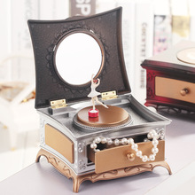 Cute Swivel Girl Suqare Dancing Vintage Music Box Musical Box Girls Rotation Music Box Mechanism For Lovers Valentine's Day Gift