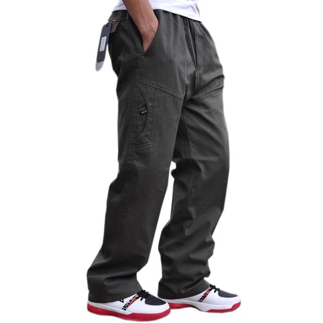 סתיו וחורף חדש מקרית גברים של מכנסיים באיכות גבוהה אופנה רב כיס כותנה סרבל בתוספת שומן גדול גודל 6XL מכנסיים