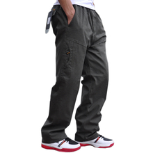 Outono e inverno novo dos homens casuais calças moda de alta qualidade multi bolso macacão de algodão mais gordura tamanho grande 6XL calças