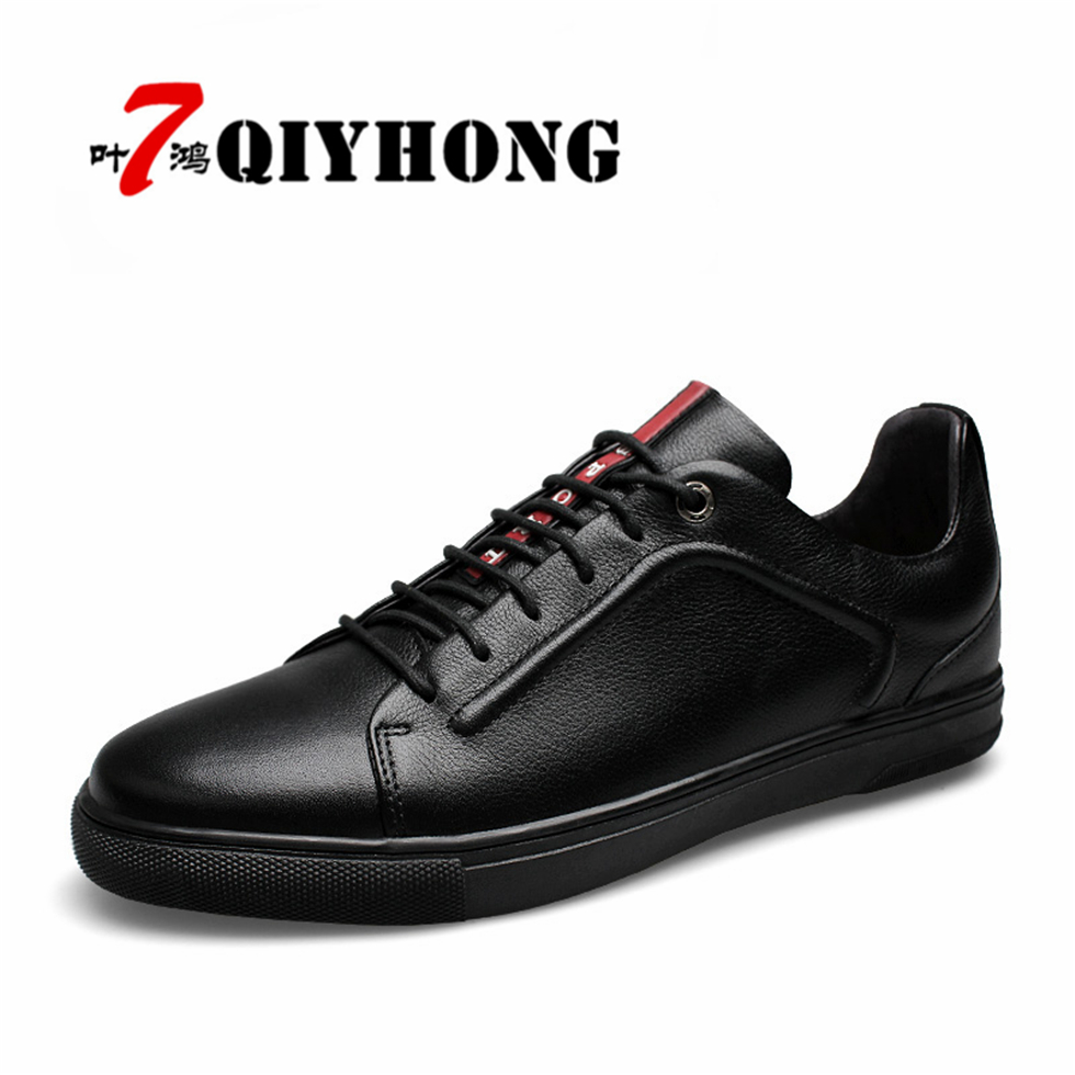 QIYHONG Luxury Brand Men Shoes England Trend Casual Leisure Shoes Leather Shoes Breathable For Male Footear Loafers Men's Flats men casual shoes in the autumn of 2017 new england men s trend of men s shoes casual shoes leather shoes breathable four male