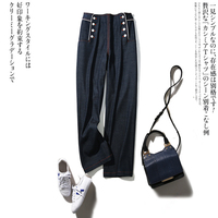 Metal double Breasted high waisted cowboy sailor trousers straight thong / octagonal trousers
