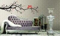אהבת עץ סניף ציפורים להסרה מדבקות הקיר ויניל מדבקות אמנות DIy עיצוב בית ציור קיר עץ מדבקות קיר גדול Vinilos פרדס