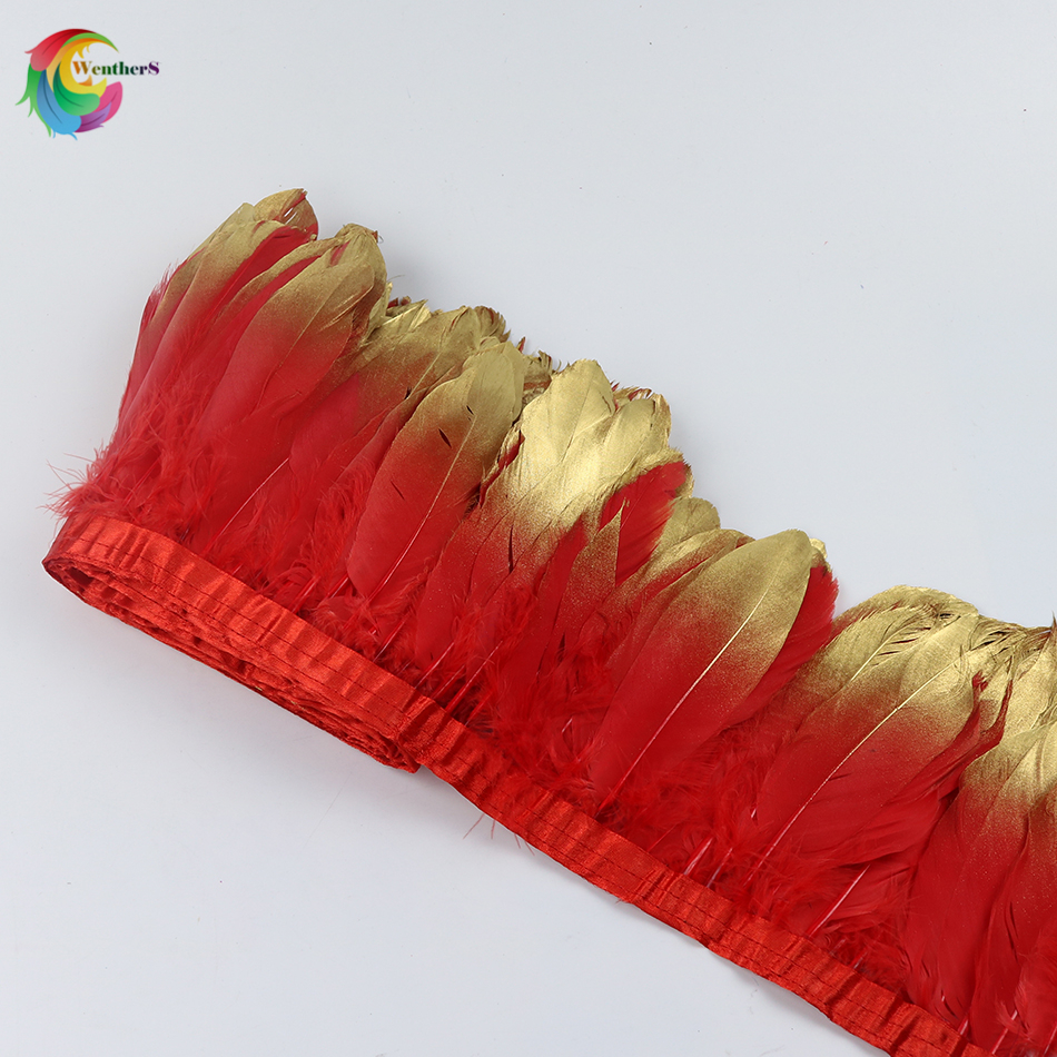 Hot red Dipped gold Goose feather ribbons Height 15-20cm feathers for Craft Wedding deco ...