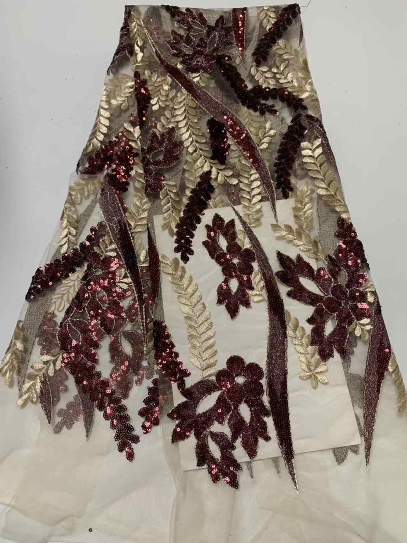 2019 последняя Золотая и серебряная французская африканская кружевная ткань с высококачественный с блестками африканская Тюлевая кружевная ткань для свадьбы C5D