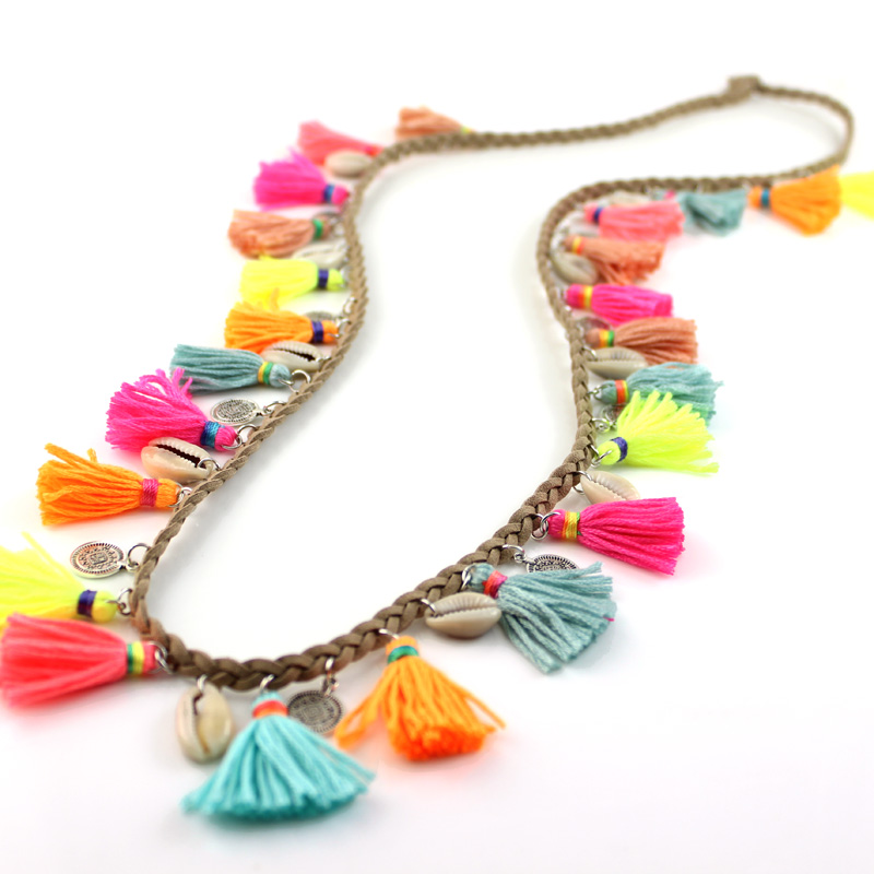 Jaasa Jewelry Womans Fashion Statement Necklace Bohemian Female Handmade brown leather Strand Colorful Tassel Long Necklaces