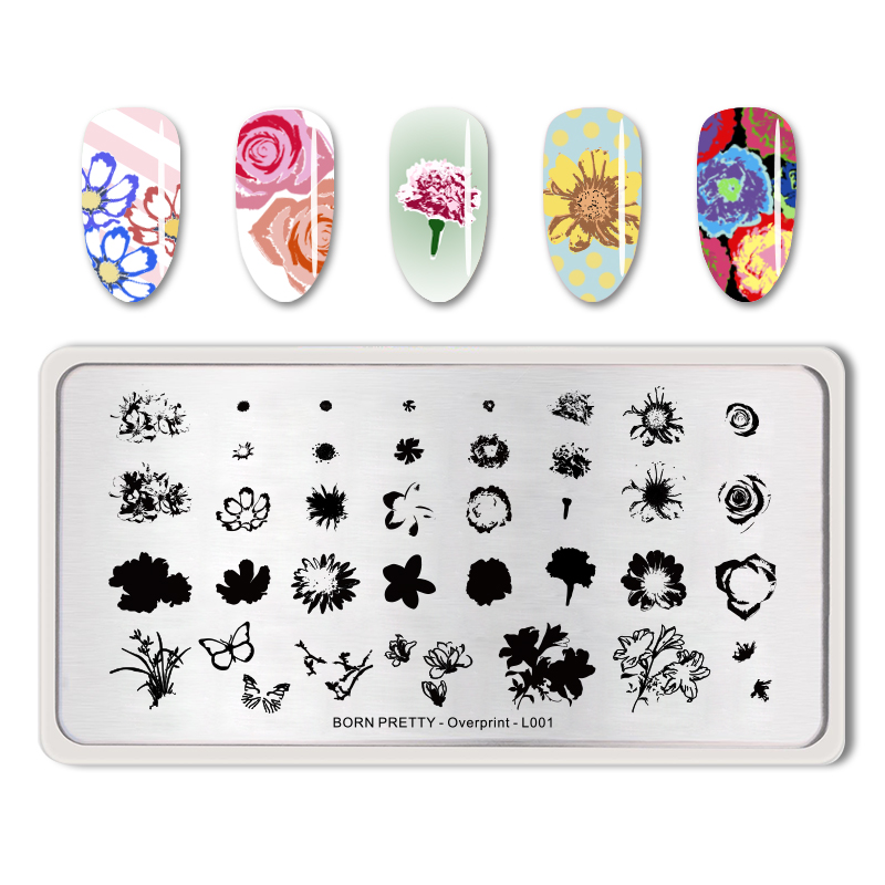 <font><b>BORN</b></font> <font><b>PRETTY</b></font> Rectangle Nail Stamping Template Flower Butterfly Leaves Image Stamp Plate Overprint-<font><b>L001</b></font> image