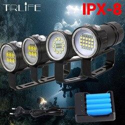 Супер яркий светильник для подводного плавания XHP70/90 светодиодный светильник для фотосъемки и видео подводный 200 м водонепроницаемый такти...